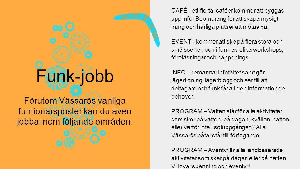 CAFÉ - ett flertal caféer kommer att byggas upp inför Boomerang för att skapa mysigt häng och härliga platser att mötas på.