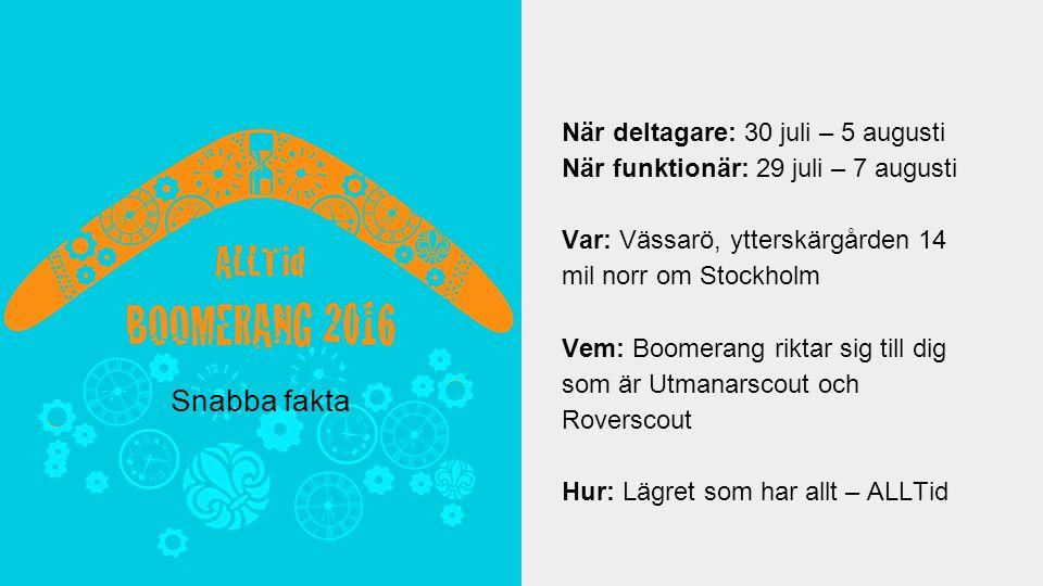 När deltagare: 30 juli – 5 augusti När funktionär: 29 juli – 7 augusti Var: Vässarö, ytterskärgården 14 mil norr om Stockholm Vem: Boomerang riktar sig till dig som är Utmanarscout och Roverscout Hur: Lägret som har allt – ALLTid Snabba fakta