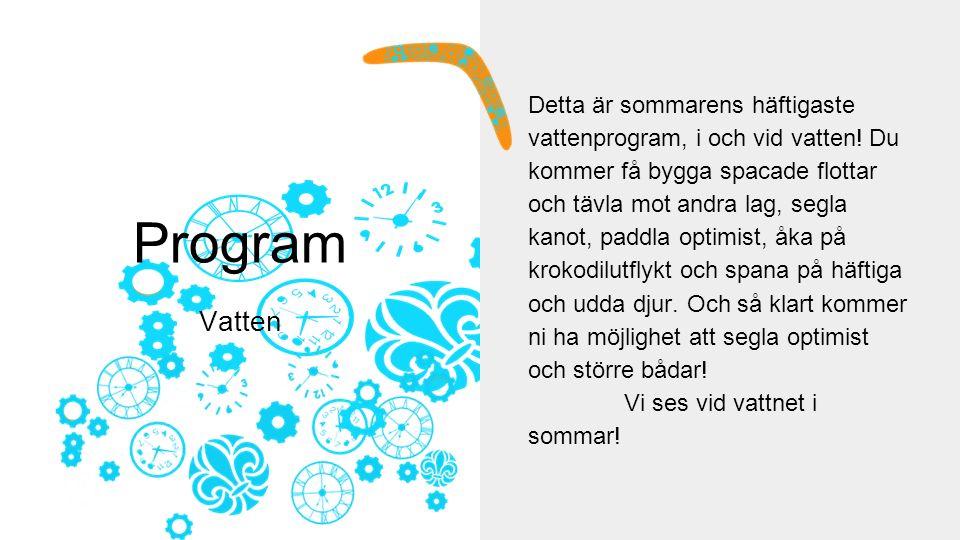 Program Vatten Detta är sommarens häftigaste vattenprogram, i och vid vatten.