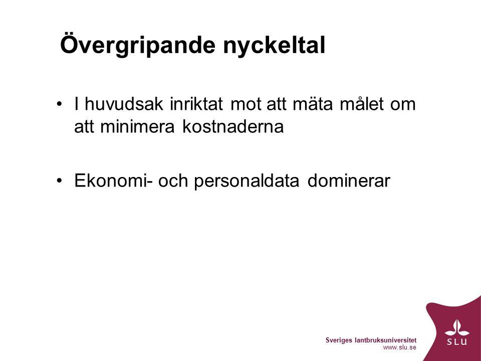 Sveriges lantbruksuniversitet www.slu.se Övergripande nyckeltal I huvudsak inriktat mot att mäta målet om att minimera kostnaderna Ekonomi- och personaldata dominerar