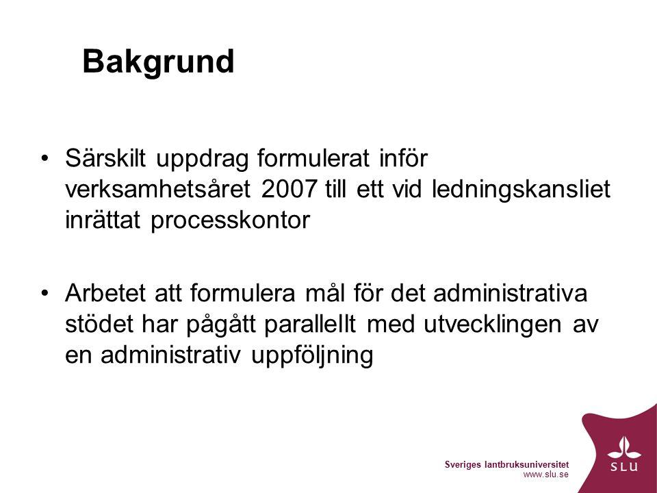 Sveriges lantbruksuniversitet www.slu.se Bakgrund Särskilt uppdrag formulerat inför verksamhetsåret 2007 till ett vid ledningskansliet inrättat processkontor Arbetet att formulera mål för det administrativa stödet har pågått parallellt med utvecklingen av en administrativ uppföljning