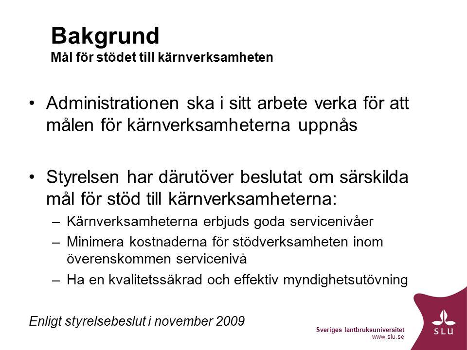 Sveriges lantbruksuniversitet www.slu.se Bakgrund Mål för stödet till kärnverksamheten Administrationen ska i sitt arbete verka för att målen för kärnverksamheterna uppnås Styrelsen har därutöver beslutat om särskilda mål för stöd till kärnverksamheterna: –Kärnverksamheterna erbjuds goda servicenivåer –Minimera kostnaderna för stödverksamheten inom överenskommen servicenivå –Ha en kvalitetssäkrad och effektiv myndighetsutövning Enligt styrelsebeslut i november 2009