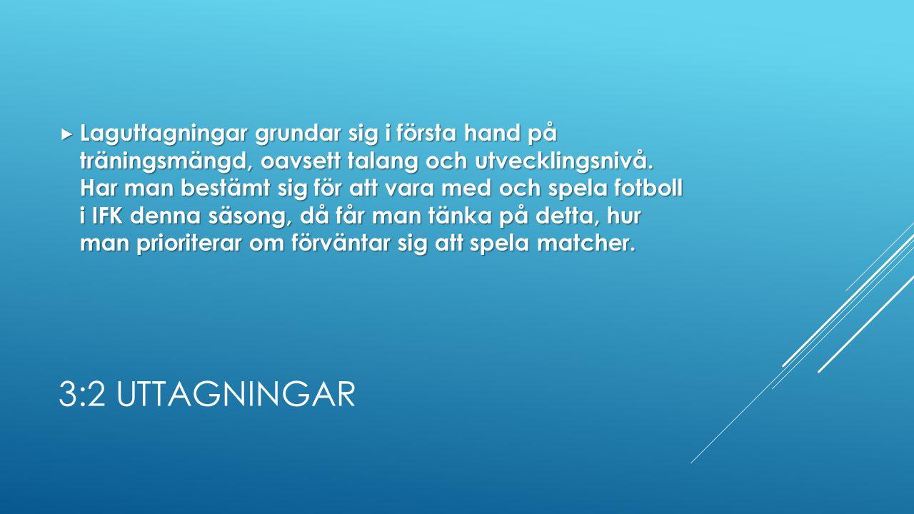 3:2 UTTAGNINGAR  Laguttagningar grundar sig i första hand på träningsmängd, oavsett talang och utvecklingsnivå.