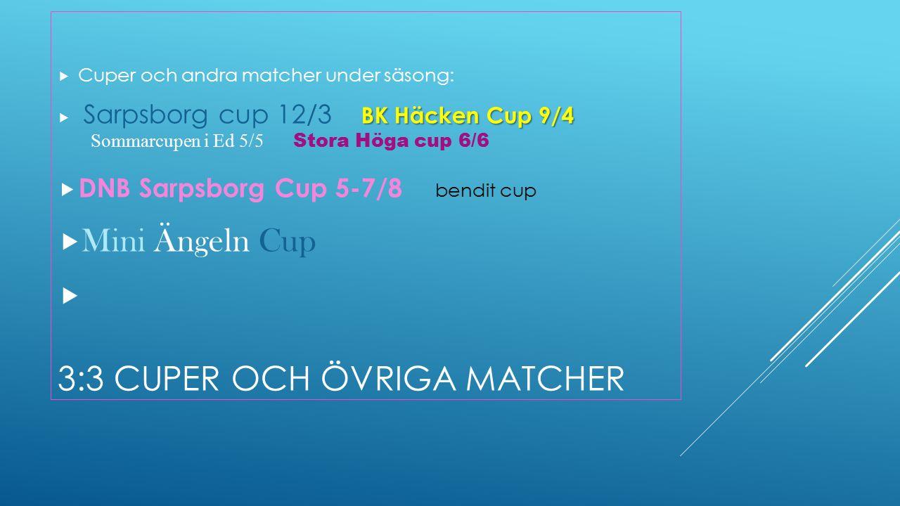3:3 CUPER OCH ÖVRIGA MATCHER  Cuper och andra matcher under säsong: BK Häcken Cup 9/4  Sarpsborg cup 12/3 BK Häcken Cup 9/4 Sommarcupen i Ed 5/5 Stora Höga cup 6/6  DNB Sarpsborg Cup 5-7/8 bendit cup  Mini Ängeln Cup 