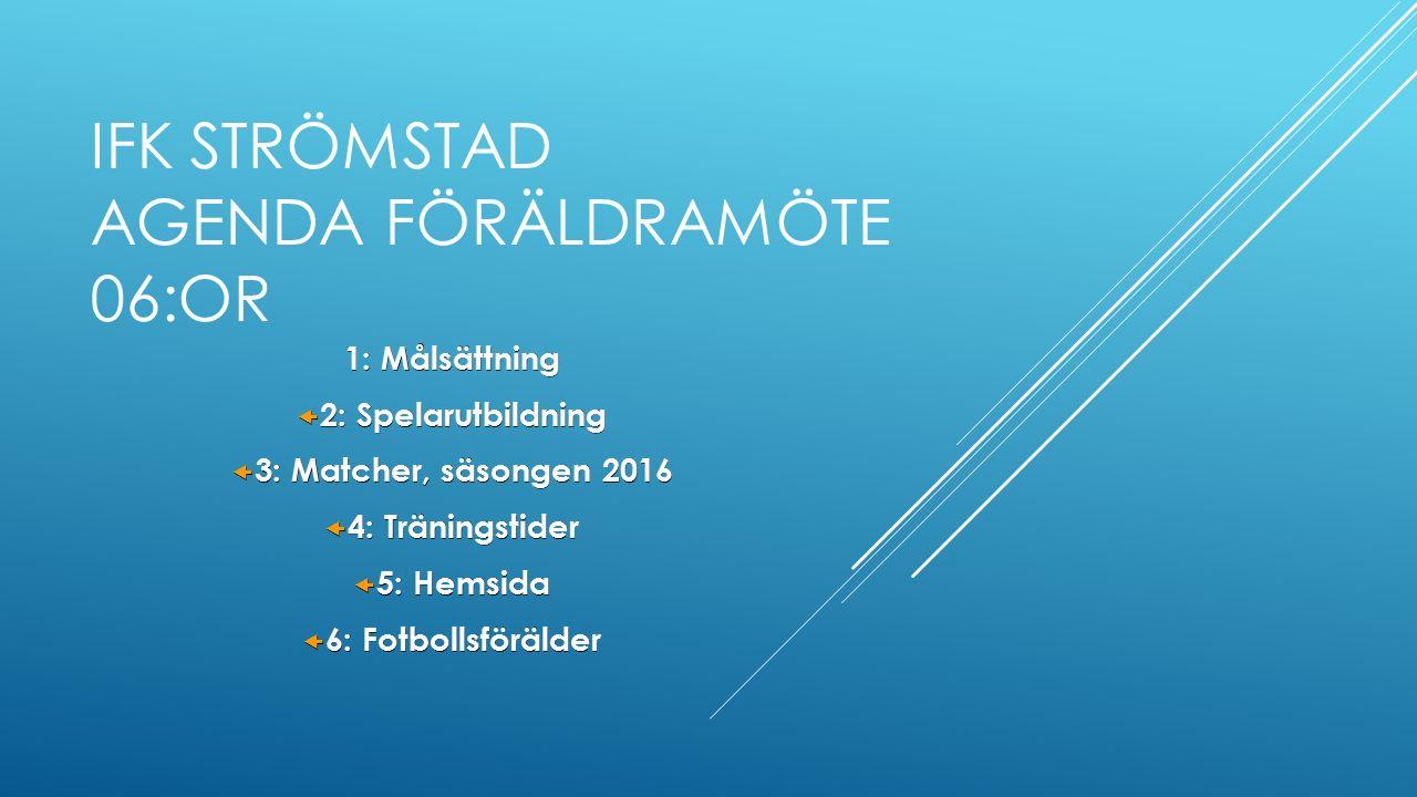 IFK STRÖMSTAD AGENDA FÖRÄLDRAMÖTE 06:OR 1: Målsättning  2: Spelarutbildning  3: Matcher, säsongen 2016  4: Träningstider  5: Hemsida  6: Fotbollsförälder
