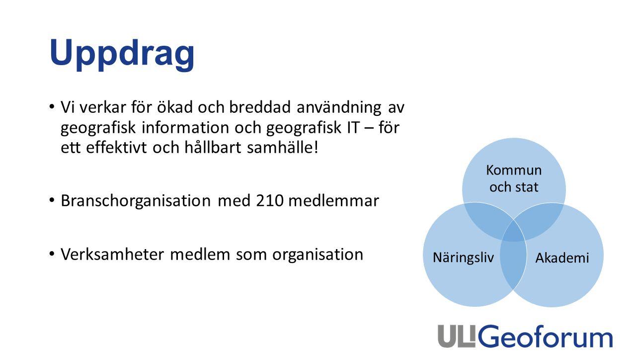 Uppdrag Vi verkar för ökad och breddad användning av geografisk information och geografisk IT – för ett effektivt och hållbart samhälle.