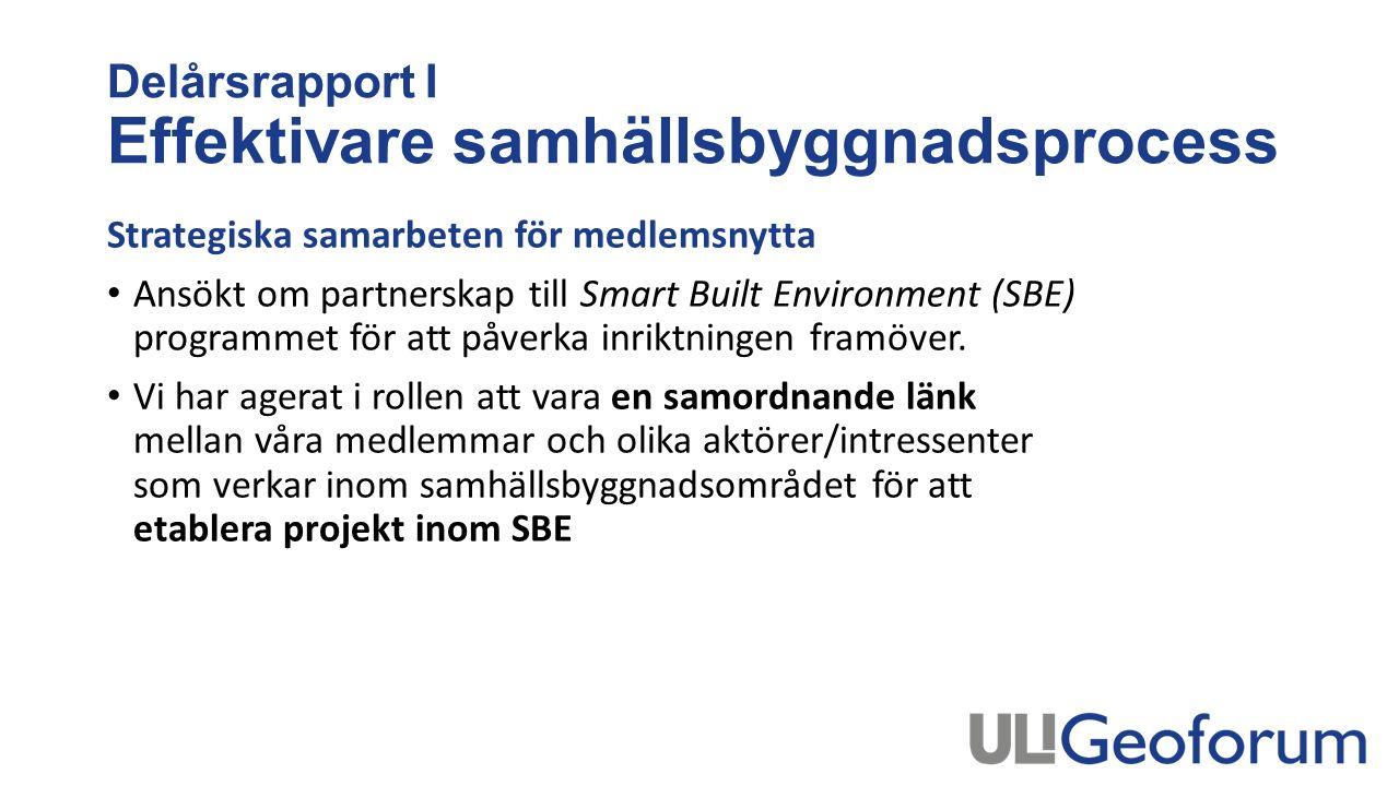 Delårsrapport I Effektivare samhällsbyggnadsprocess Strategiska samarbeten för medlemsnytta Ansökt om partnerskap till Smart Built Environment (SBE) programmet för att påverka inriktningen framöver.