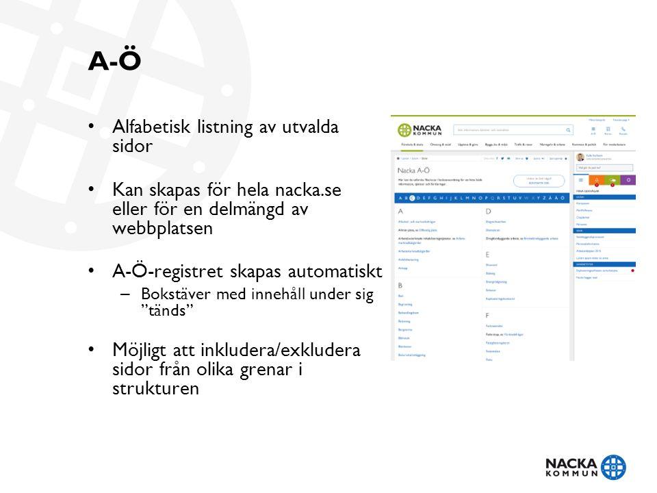 A-Ö Alfabetisk listning av utvalda sidor Kan skapas för hela nacka.se eller för en delmängd av webbplatsen A-Ö-registret skapas automatiskt – Bokstäver med innehåll under sig tänds Möjligt att inkludera/exkludera sidor från olika grenar i strukturen
