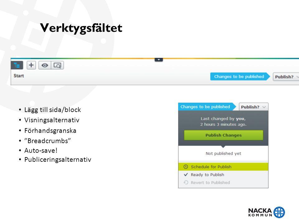 Verktygsfältet Lägg till sida/block Visningsalternativ Förhandsgranska Breadcrumbs Auto-save.