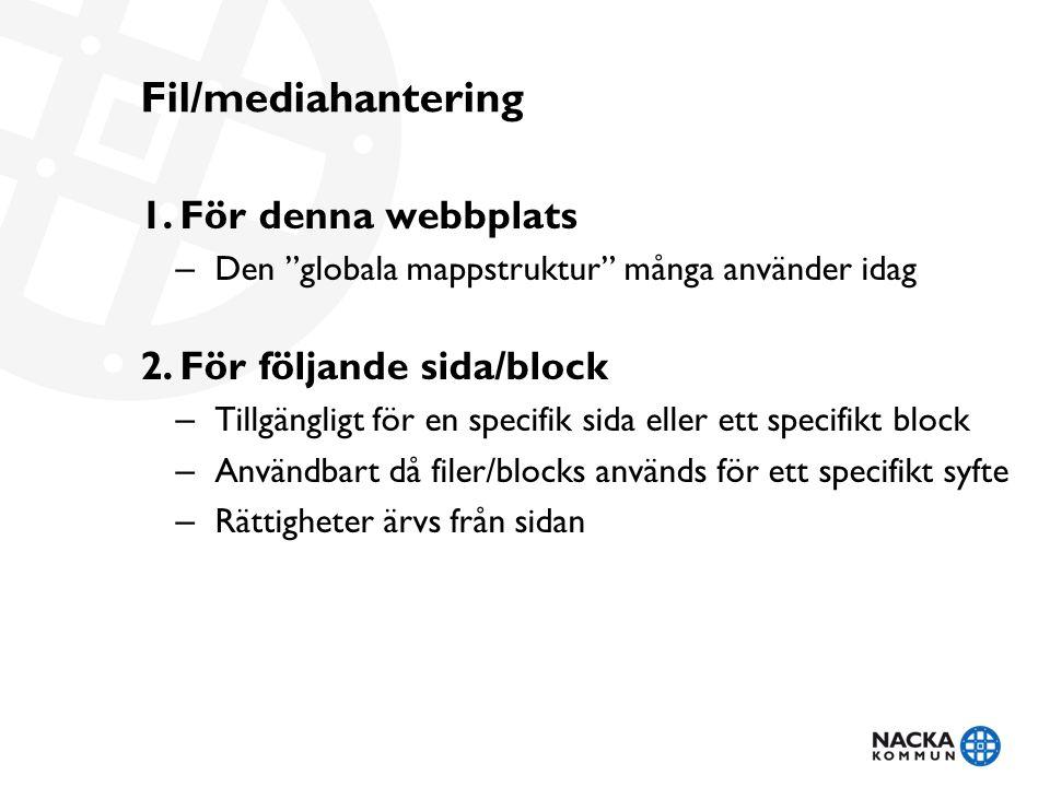 Fil/mediahantering 1.För denna webbplats – Den globala mappstruktur många använder idag 2.För följande sida/block – Tillgängligt för en specifik sida eller ett specifikt block – Användbart då filer/blocks används för ett specifikt syfte – Rättigheter ärvs från sidan