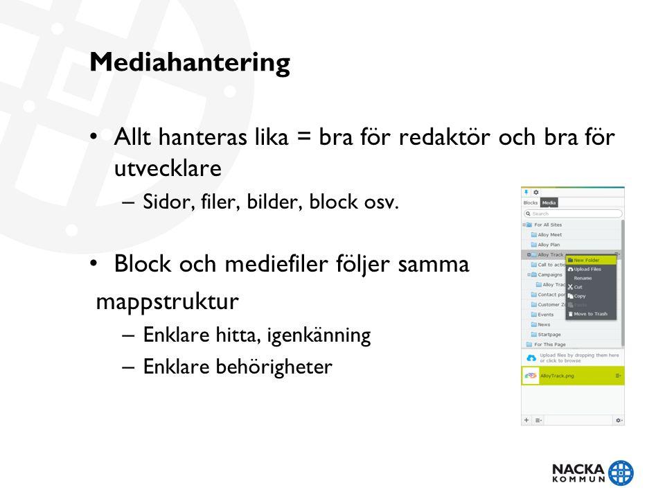 Mediahantering Allt hanteras lika = bra för redaktör och bra för utvecklare – Sidor, filer, bilder, block osv.