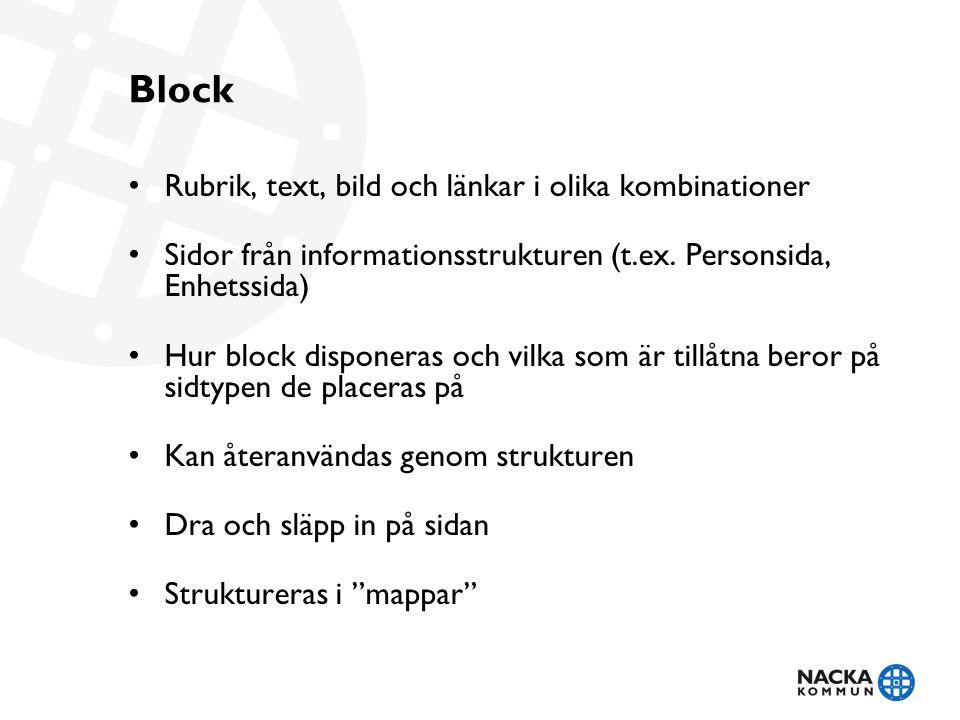 Block Rubrik, text, bild och länkar i olika kombinationer Sidor från informationsstrukturen (t.ex.