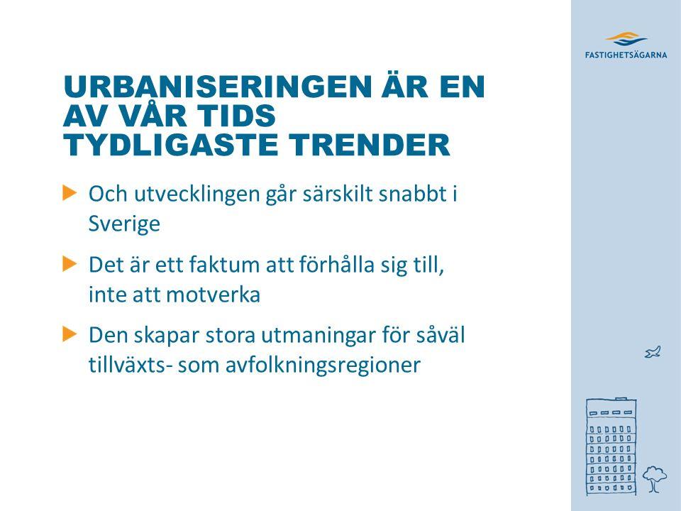 URBANISERINGEN ÄR EN AV VÅR TIDS TYDLIGASTE TRENDER Och utvecklingen går särskilt snabbt i Sverige Det är ett faktum att förhålla sig till, inte att motverka Den skapar stora utmaningar för såväl tillväxts- som avfolkningsregioner