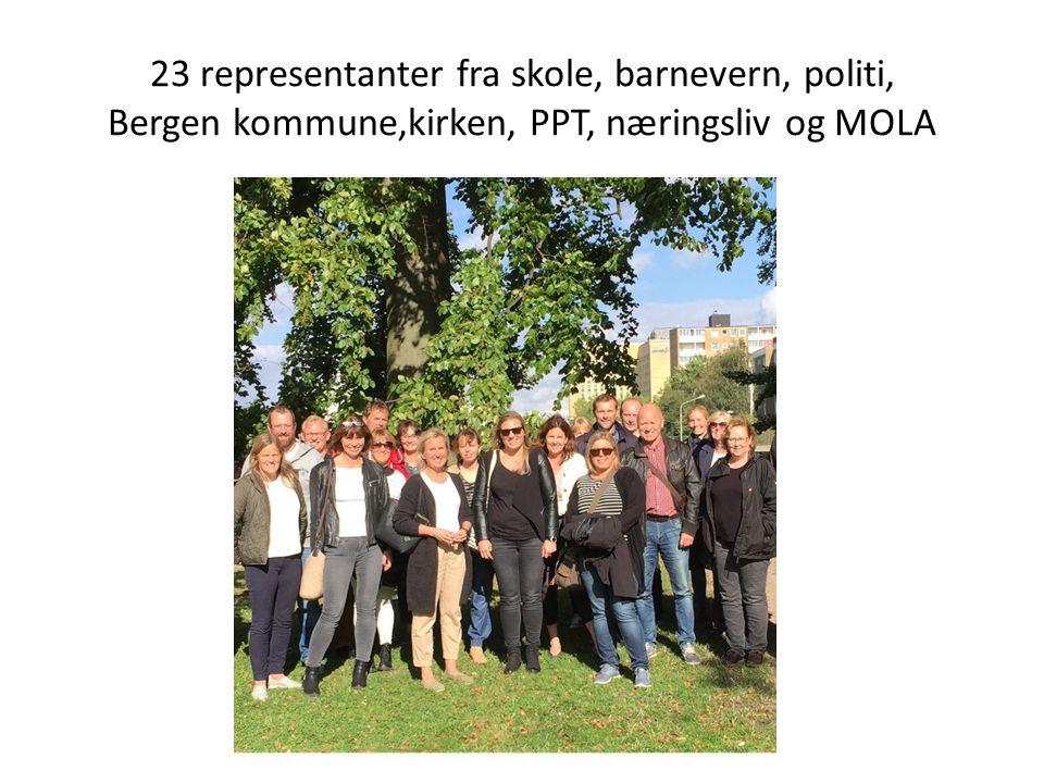 23 representanter fra skole, barnevern, politi, Bergen kommune,kirken, PPT, næringsliv og MOLA
