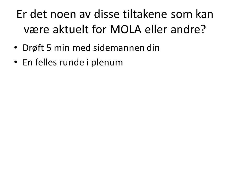 Er det noen av disse tiltakene som kan være aktuelt for MOLA eller andre? Drøft 5 min med sidemannen din En felles runde i plenum