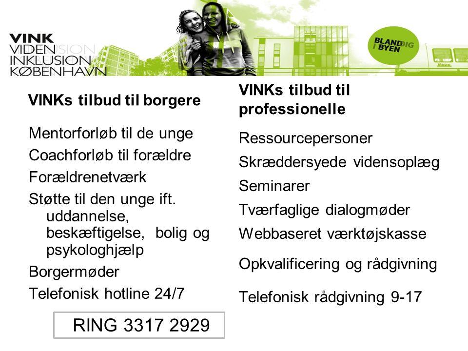 VINKs tilbud til borgere Mentorforløb til de unge Coachforløb til forældre Forældrenetværk Støtte til den unge ift. uddannelse, beskæftigelse, bolig o