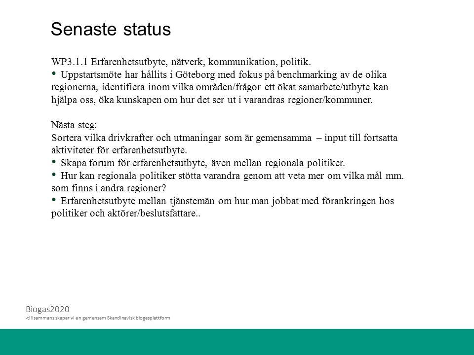 Biogas2020 -tillsammans skapar vi en gemensam Skandinavisk biogasplattform WP3.1.1 Erfarenhetsutbyte, nätverk, kommunikation, politik. Uppstartsmöte h