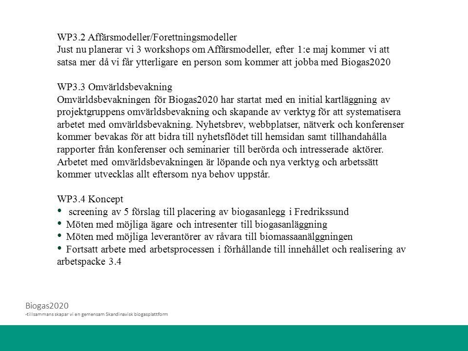 Biogas2020 -tillsammans skapar vi en gemensam Skandinavisk biogasplattform WP3.2 Affärsmodeller/Forettningsmodeller Just nu planerar vi 3 workshops om