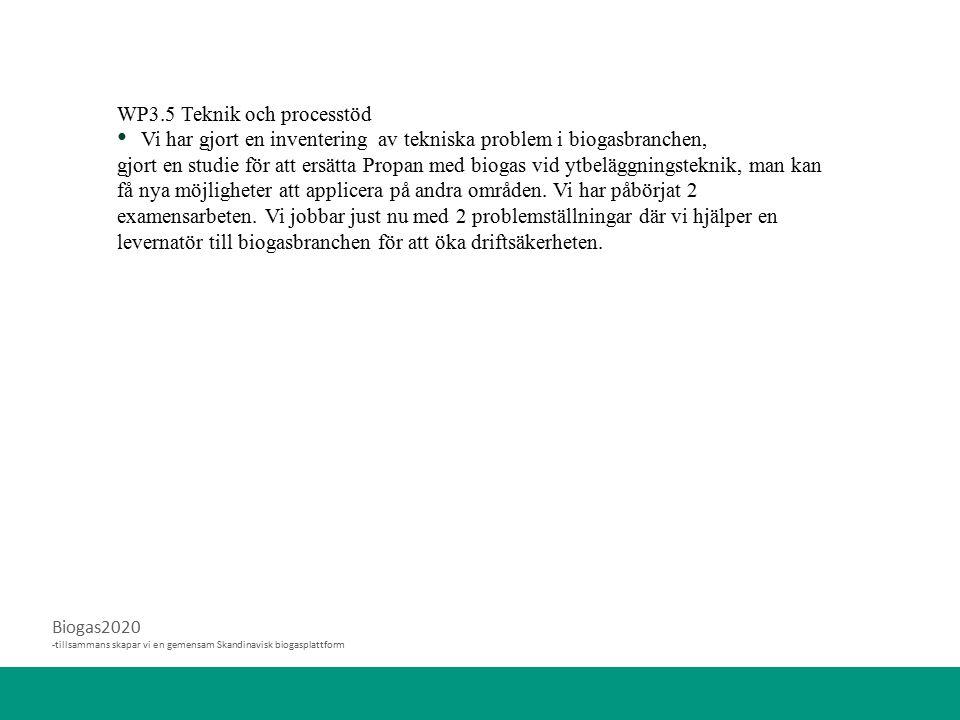 Biogas2020 -tillsammans skapar vi en gemensam Skandinavisk biogasplattform WP3.5 Teknik och processtöd Vi har gjort en inventering av tekniska problem i biogasbranchen, gjort en studie för att ersätta Propan med biogas vid ytbeläggningsteknik, man kan få nya möjligheter att applicera på andra områden.