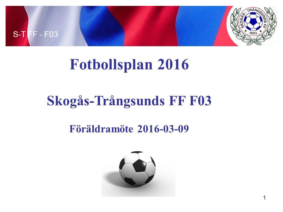 Fotbollsplan 2016 Skogås-Trångsunds FF F03 Föräldramöte 2016-03-09 S-T FF - F03 1