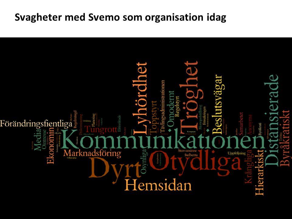 Svagheter med Svemo som organisation idag