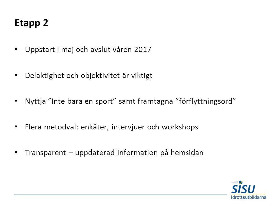 """Etapp 2 Uppstart i maj och avslut våren 2017 Delaktighet och objektivitet är viktigt Nyttja """"Inte bara en sport"""" samt framtagna """"förflyttningsord"""" Fle"""