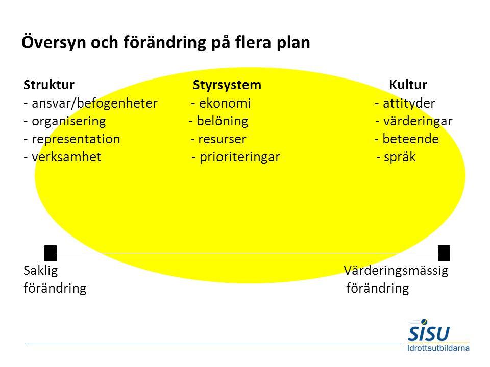 Översyn och förändring på flera plan Struktur Styrsystem Kultur - ansvar/befogenheter - ekonomi - attityder - organisering - belöning - värderingar - representation - resurser - beteende - verksamhet - prioriteringar - språk Saklig Värderingsmässig förändring förändring