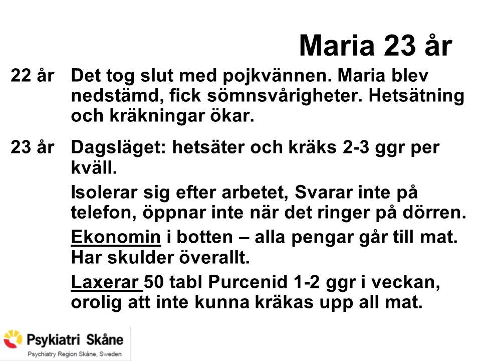 Maria 23 år 22 årDet tog slut med pojkvännen. Maria blev nedstämd, fick sömnsvårigheter. Hetsätning och kräkningar ökar. 23 årDagsläget: hetsäter och