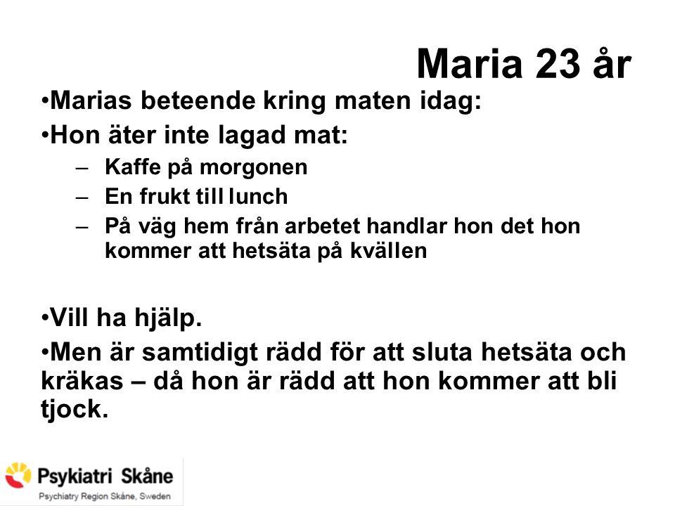 Maria 23 år Marias beteende kring maten idag: Hon äter inte lagad mat: –Kaffe på morgonen –En frukt till lunch –På väg hem från arbetet handlar hon de