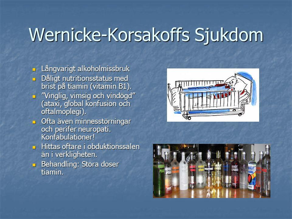 Wernicke-Korsakoffs Sjukdom Långvarigt alkoholmissbruk Långvarigt alkoholmissbruk Dåligt nutritionsstatus med brist på tiamin (vitamin B1).