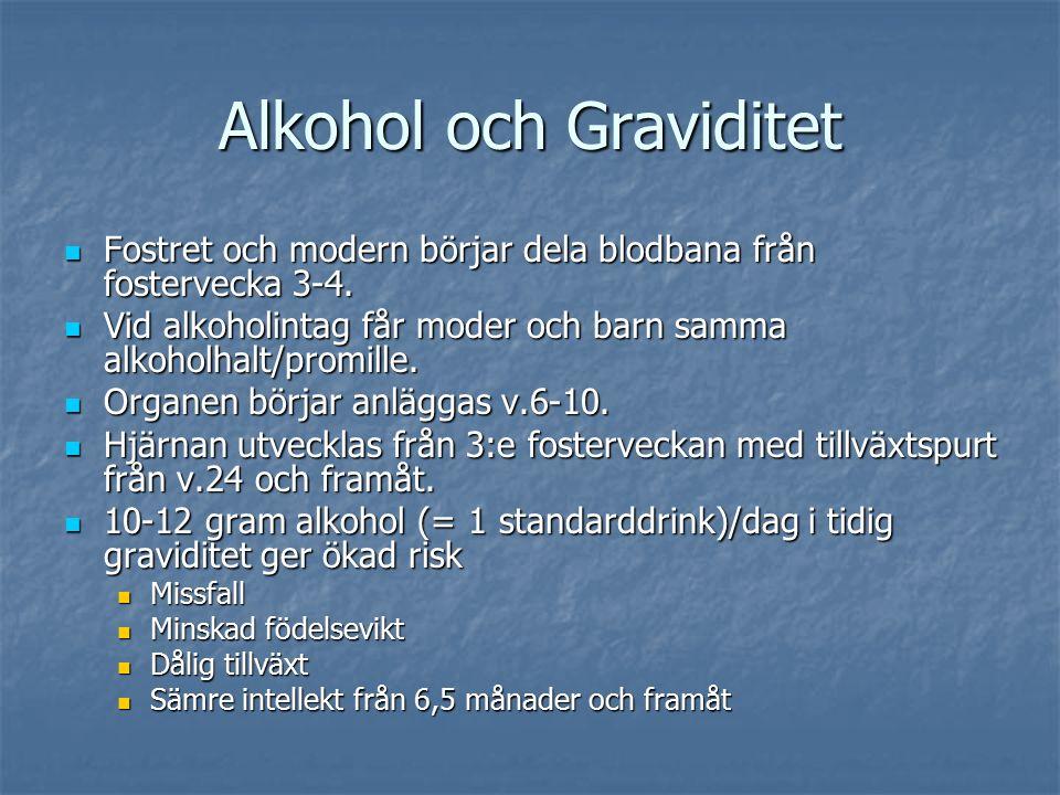 Alkohol och Graviditet Fostret och modern börjar dela blodbana från fostervecka 3-4.