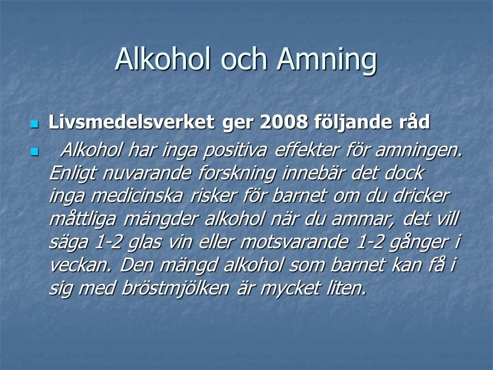 Alkohol och Amning Livsmedelsverket ger 2008 följande råd Livsmedelsverket ger 2008 följande råd Alkohol har inga positiva effekter för amningen.