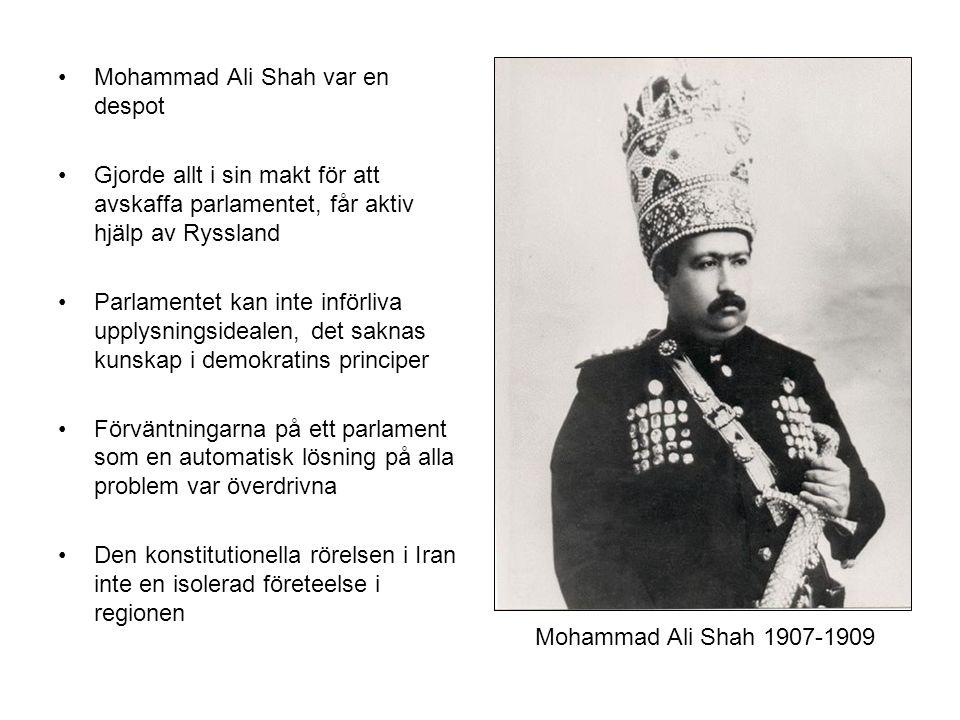 Mohammad Ali Shah var en despot Gjorde allt i sin makt för att avskaffa parlamentet, får aktiv hjälp av Ryssland Parlamentet kan inte införliva upplysningsidealen, det saknas kunskap i demokratins principer Förväntningarna på ett parlament som en automatisk lösning på alla problem var överdrivna Den konstitutionella rörelsen i Iran inte en isolerad företeelse i regionen Mohammad Ali Shah 1907-1909