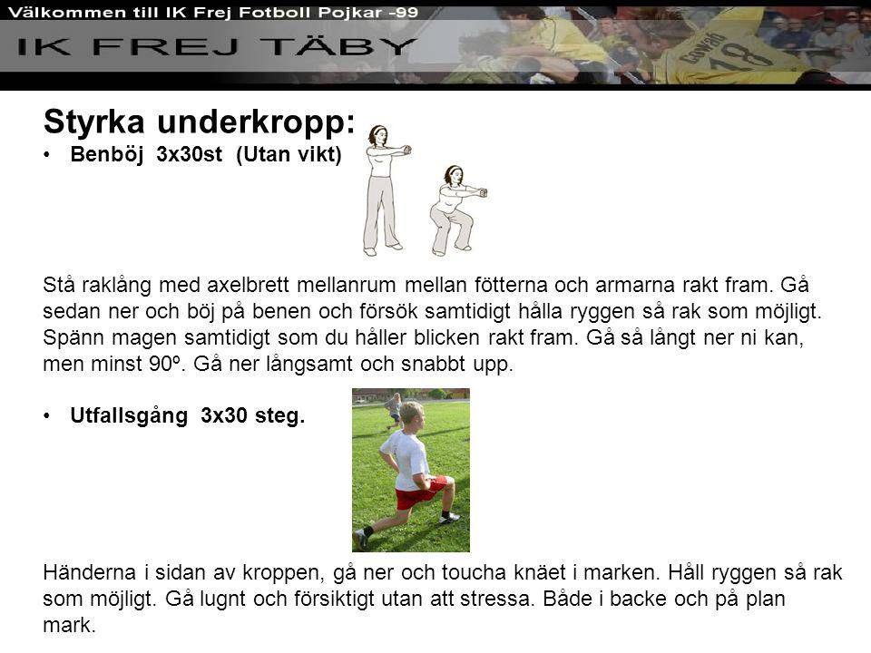 Styrka underkropp: Benböj 3x30st (Utan vikt) Stå raklång med axelbrett mellanrum mellan fötterna och armarna rakt fram.