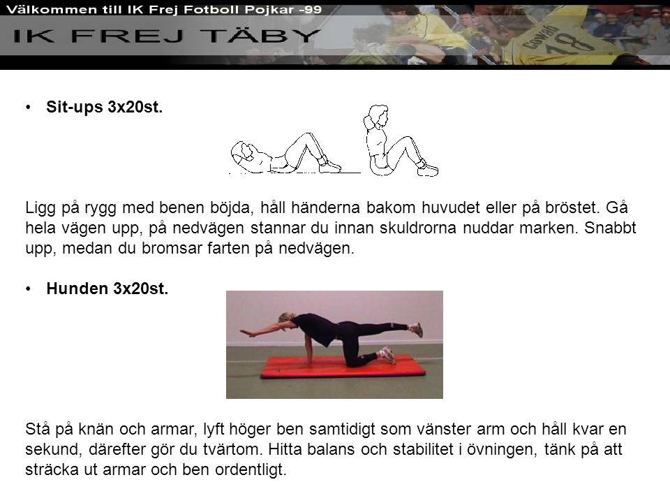 Sit-ups 3x20st. Ligg på rygg med benen böjda, håll händerna bakom huvudet eller på bröstet.