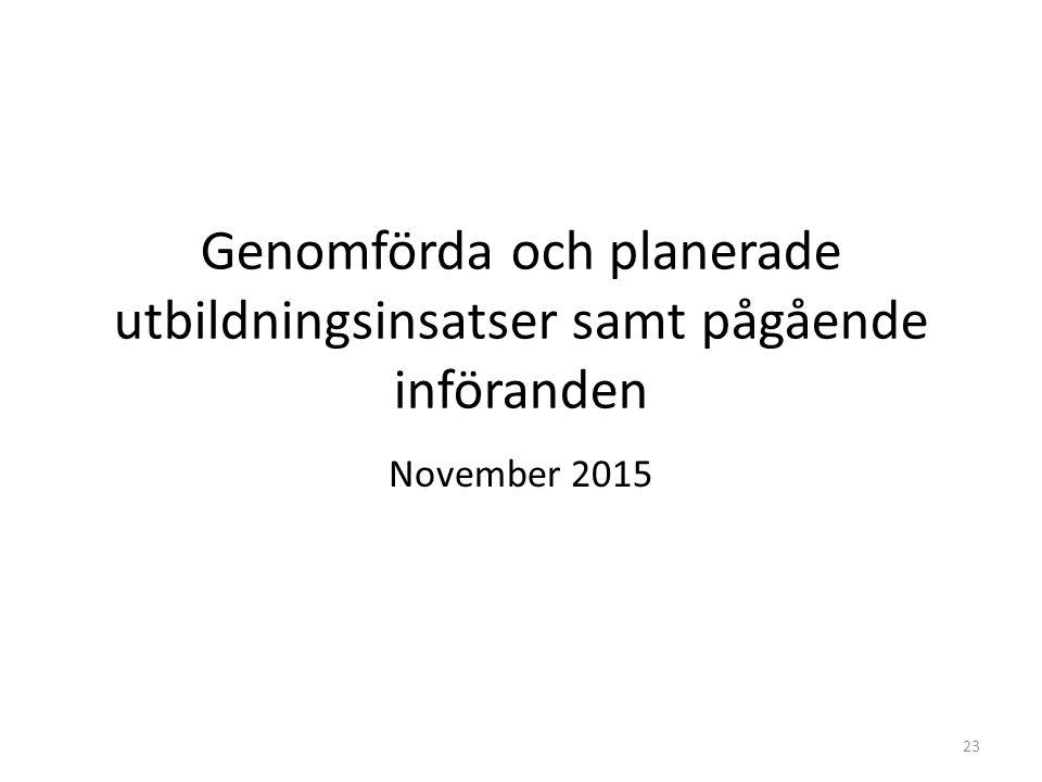 Genomförda och planerade utbildningsinsatser samt pågående införanden November 2015 23