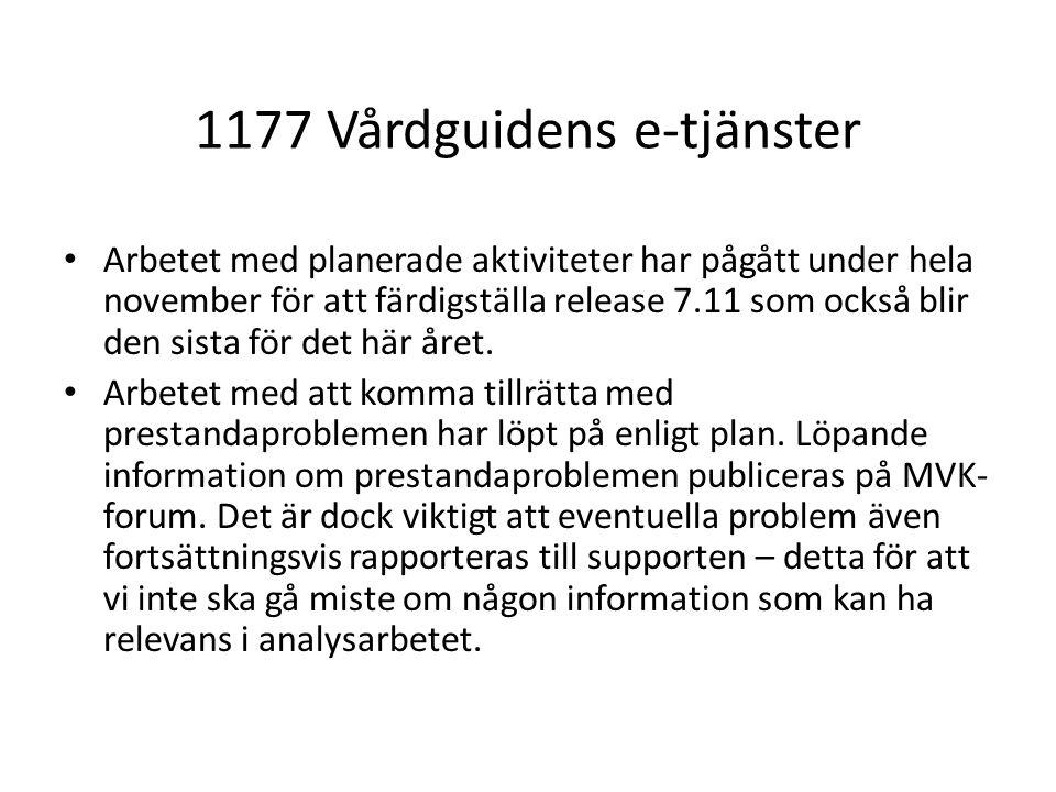 1177 Vårdguidens e-tjänster Arbetet med planerade aktiviteter har pågått under hela november för att färdigställa release 7.11 som också blir den sist