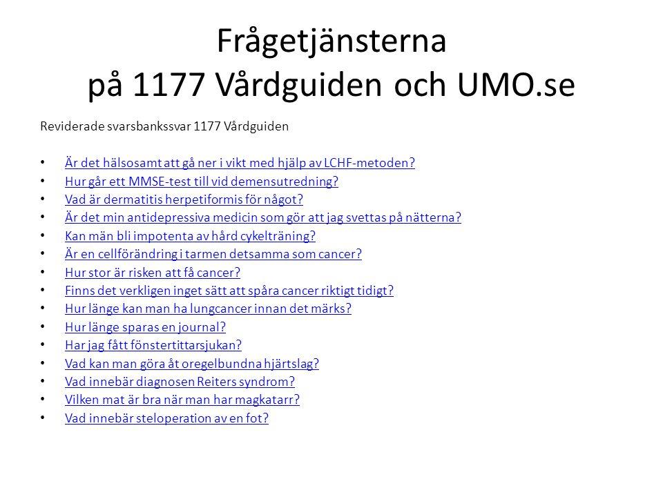 Frågetjänsterna på 1177 Vårdguiden och UMO.se Reviderade svarsbankssvar 1177 Vårdguiden Är det hälsosamt att gå ner i vikt med hjälp av LCHF-metoden?