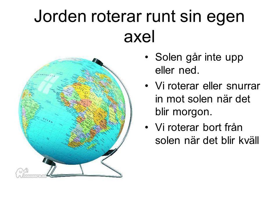 Jorden roterar runt sin egen axel Solen går inte upp eller ned.