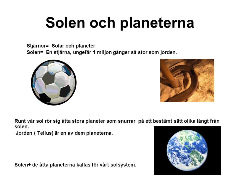 Solen och planeterna Stjärnor= Solar och planeter Solen= En stjärna, ungefär 1 miljon gånger så stor som jorden.