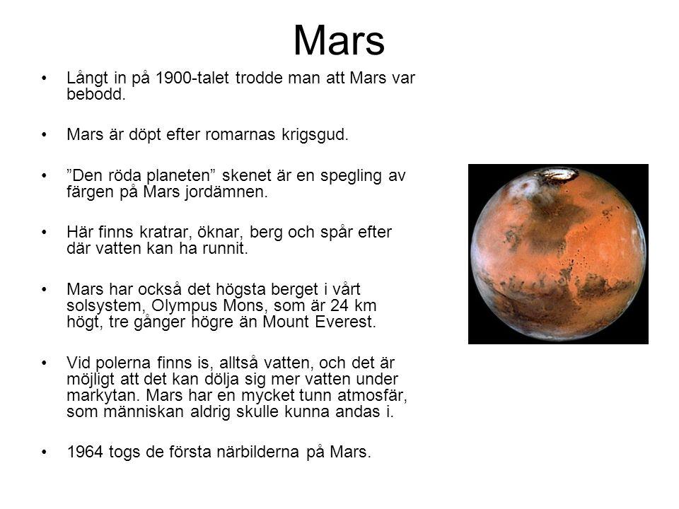Mars Långt in på 1900-talet trodde man att Mars var bebodd.