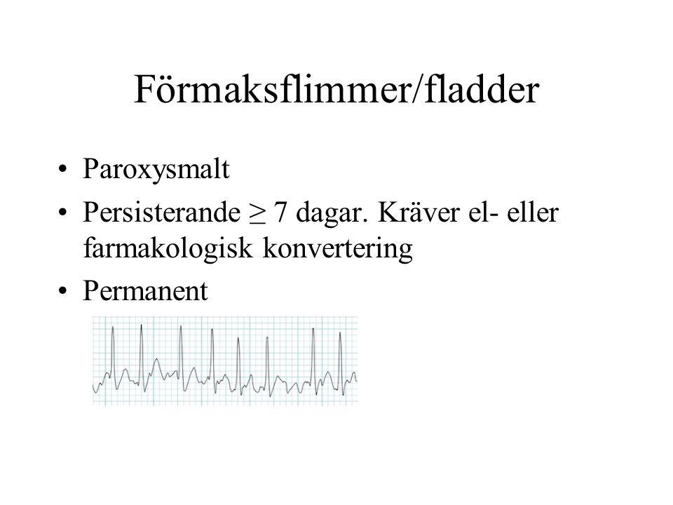 Förmaksflimmer/fladder Paroxysmalt Persisterande ≥ 7 dagar.