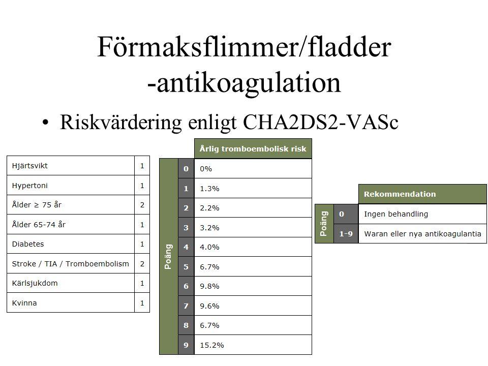 Förmaksflimmer/fladder -antikoagulation Riskvärdering enligt CHA2DS2-VASc