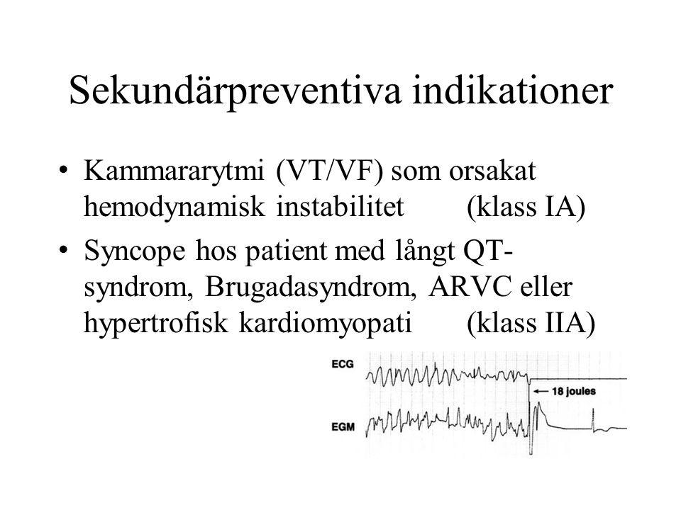 Sekundärpreventiva indikationer Kammararytmi (VT/VF) som orsakat hemodynamisk instabilitet(klass IA) Syncope hos patient med långt QT- syndrom, Brugadasyndrom, ARVC eller hypertrofisk kardiomyopati(klass IIA)