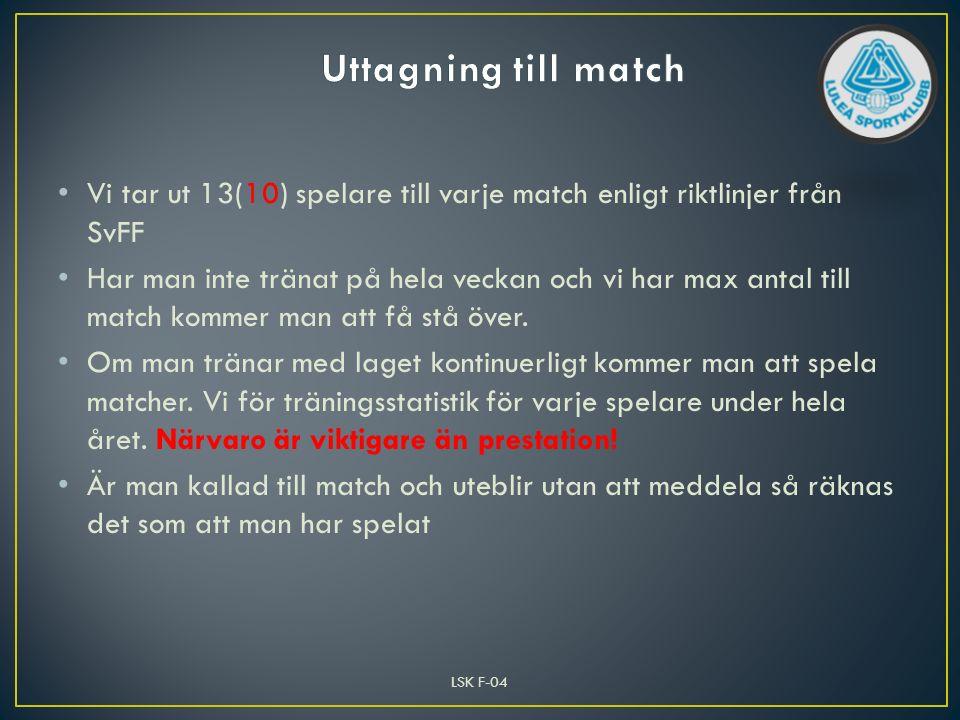 Vi tar ut 13(10) spelare till varje match enligt riktlinjer från SvFF Har man inte tränat på hela veckan och vi har max antal till match kommer man att få stå över.