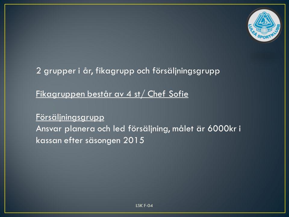 LSK F-04 2 grupper i år, fikagrupp och försäljningsgrupp Fikagruppen består av 4 st/ Chef Sofie Försäljningsgrupp Ansvar planera och led försäljning, målet är 6000kr i kassan efter säsongen 2015