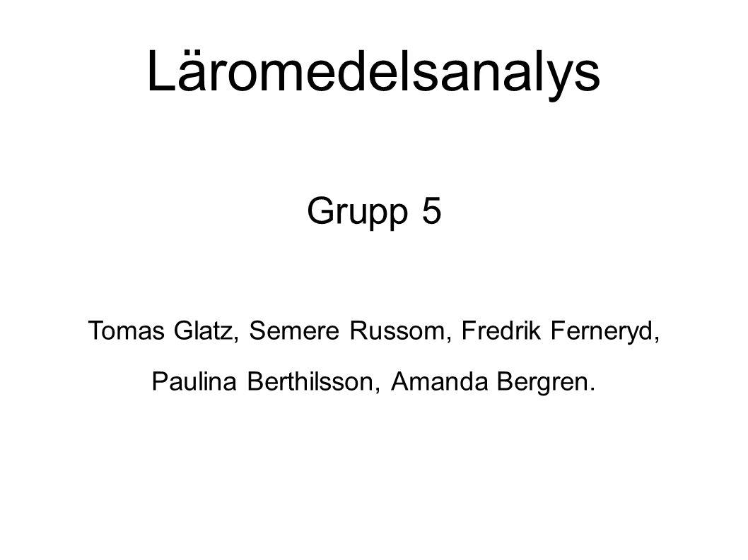 Läromedelsanalys Grupp 5 Tomas Glatz, Semere Russom, Fredrik Ferneryd, Paulina Berthilsson, Amanda Bergren.