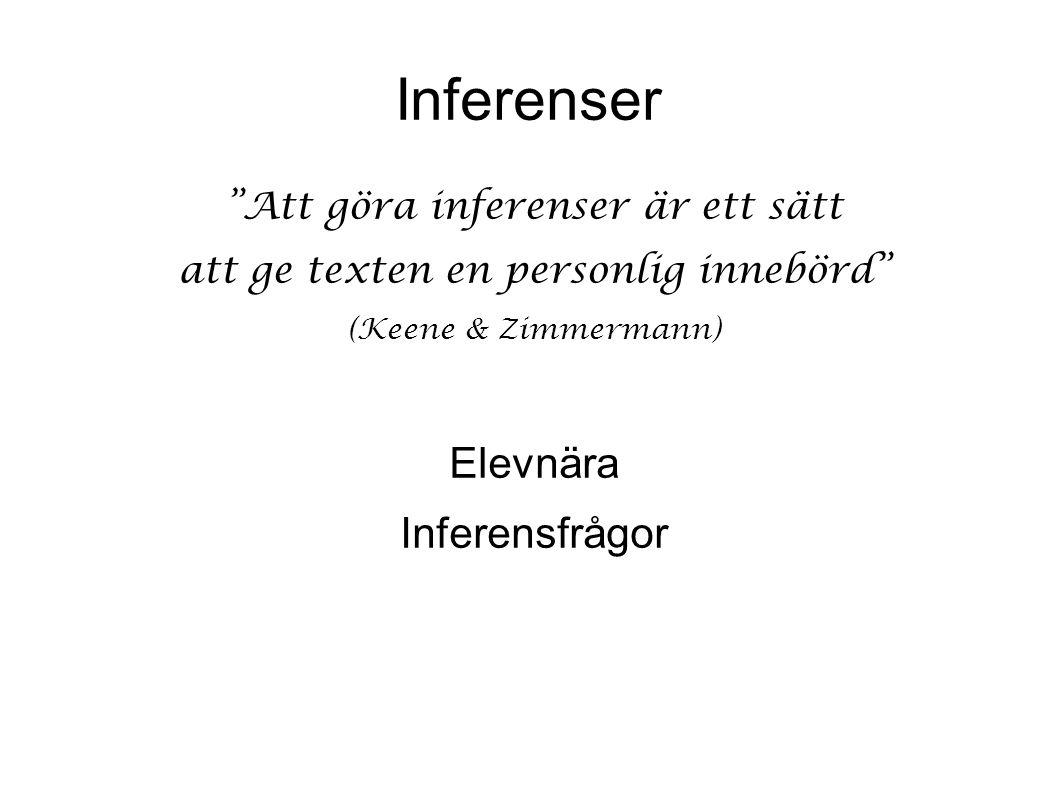 Inferenser Att göra inferenser är ett sätt att ge texten en personlig innebörd (Keene & Zimmermann) Elevnära Inferensfrågor