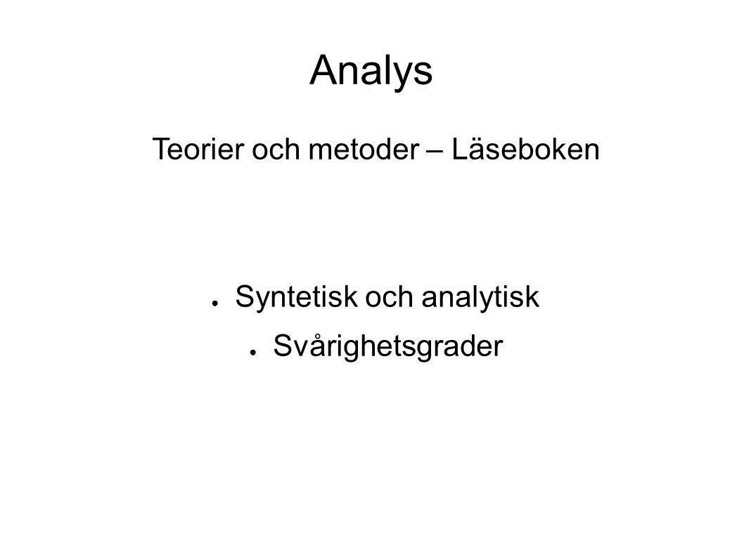 Analys Teorier och metoder – Läseboken ● Syntetisk och analytisk ● Svårighetsgrader