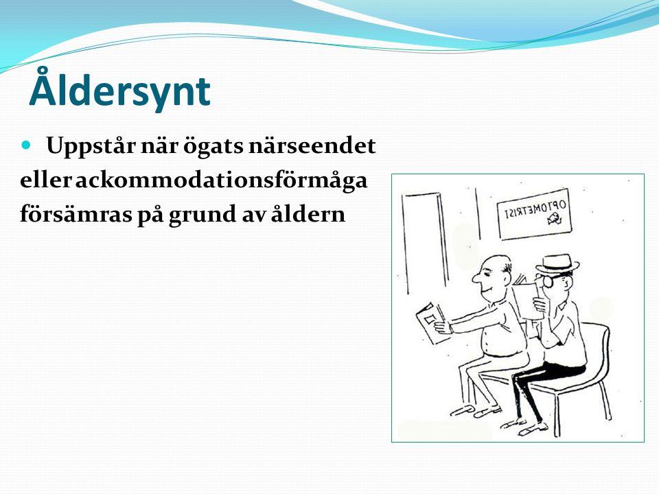 Åldersynt Uppstår när ögats närseendet eller ackommodationsförmåga försämras på grund av åldern